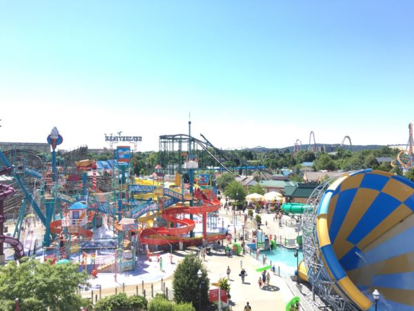 View of Hersheypark & Boardwalk water park from the ferris wheel.