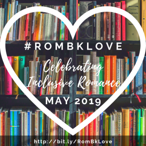 Heart image over books for #RomBkLove