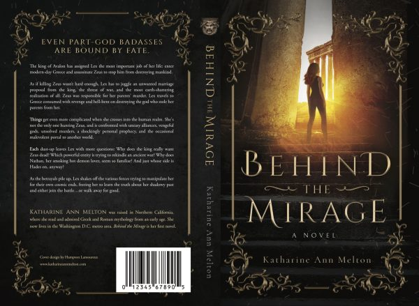 Book Cover and back cover of Behind the Mirage